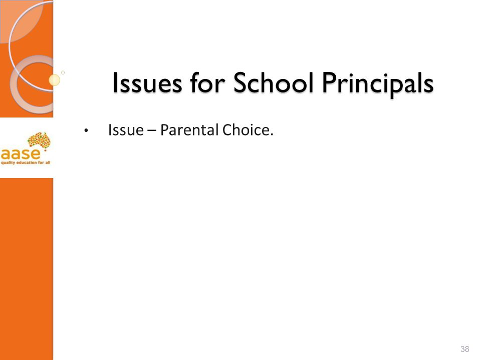 Issues for School Principals Issue – Parental Choice. 38