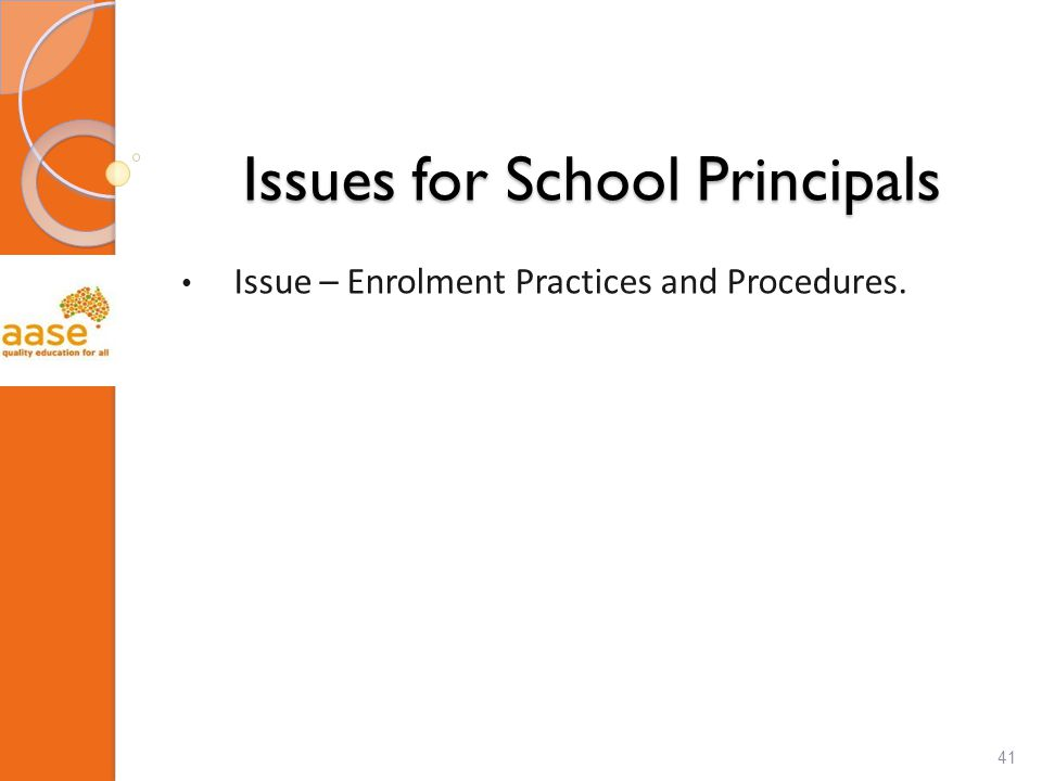 Issues for School Principals Issue – Enrolment Practices and Procedures. 41
