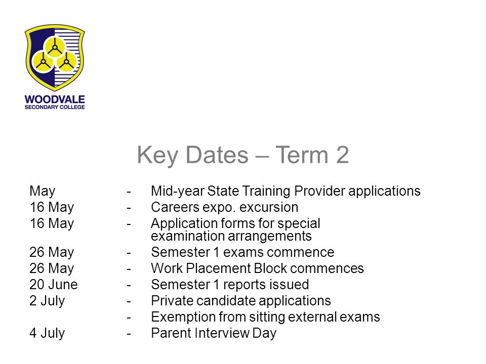 Key Dates – Term 2 May-Mid-year State Training Provider applications 16 May -Careers expo.