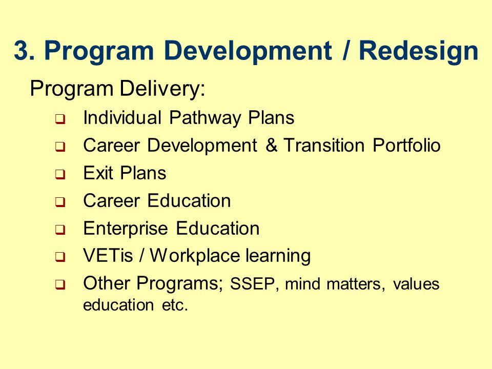 3. Program Development / Redesign Program Delivery:  Individual Pathway Plans  Career Development & Transition Portfolio  Exit Plans  Career Educa