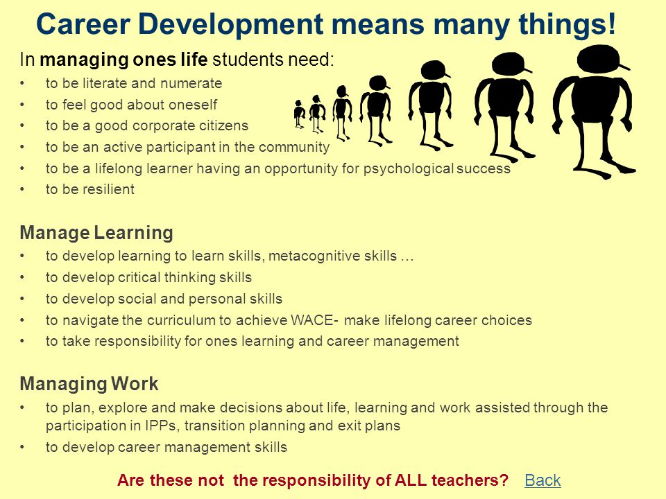 Career Development means many things.