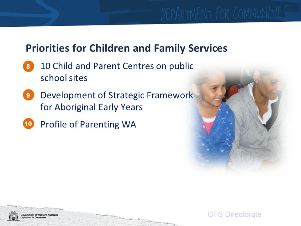 CFS Directorate Priorities for Children and Family Services 10 Child and Parent Centres on public school sites Development of Strategic Framework for