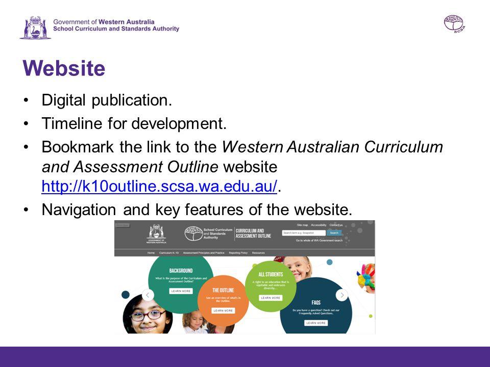 Website Digital publication. Timeline for development. Bookmark the link to the Western Australian Curriculum and Assessment Outline website http://k1