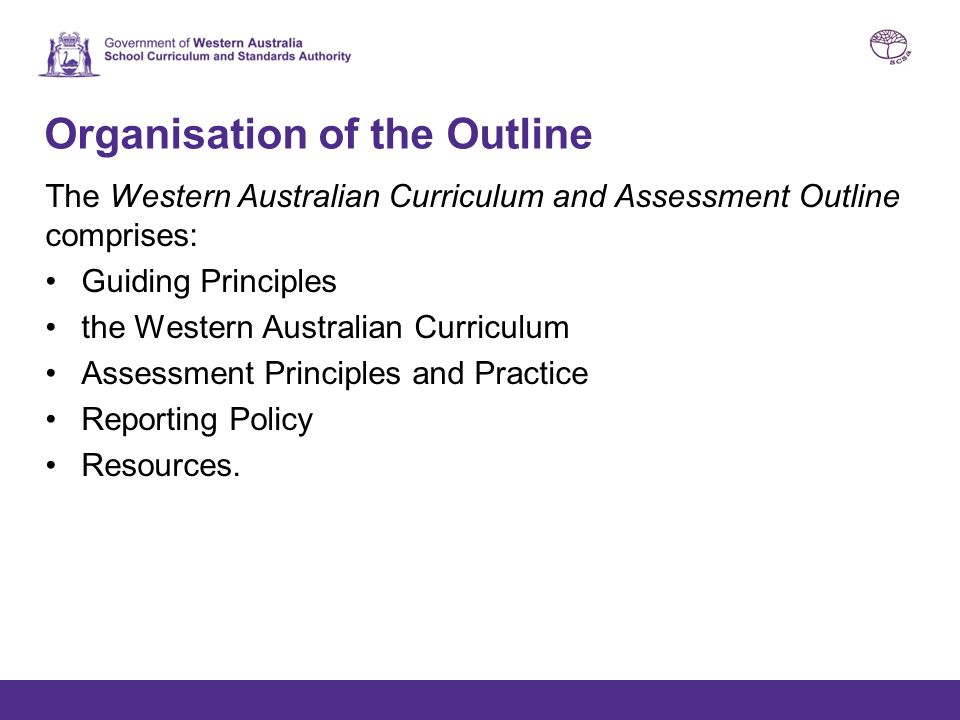 Organisation of the Outline The Western Australian Curriculum and Assessment Outline comprises: Guiding Principles the Western Australian Curriculum A