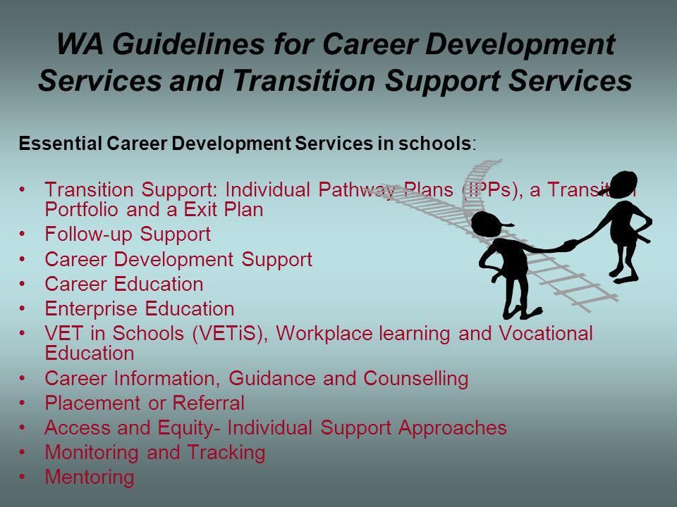 Essential Career Development Services in schools: Transition Support: Individual Pathway Plans (IPPs), a Transition Portfolio and a Exit Plan Follow-up Support Career Development Support Career Education Enterprise Education VET in Schools (VETiS), Workplace learning and Vocational Education Career Information, Guidance and Counselling Placement or Referral Access and Equity- Individual Support Approaches Monitoring and Tracking Mentoring WA Guidelines for Career Development Services and Transition Support Services