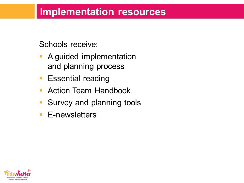 Schools receive:  A guided implementation and planning process  Essential reading  Action Team Handbook  Survey and planning tools  E-newsletters Implementation resources