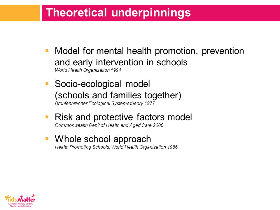  Model for mental health promotion, prevention and early intervention in schools World Health Organization 1994  Socio-ecological model (schools and families together) Bronfenbrenner Ecological Systems theory 1977  Risk and protective factors model Commonwealth Dep't of Health and Aged Care 2000  Whole school approach Health Promoting Schools, World Health Organization 1986 Theoretical underpinnings