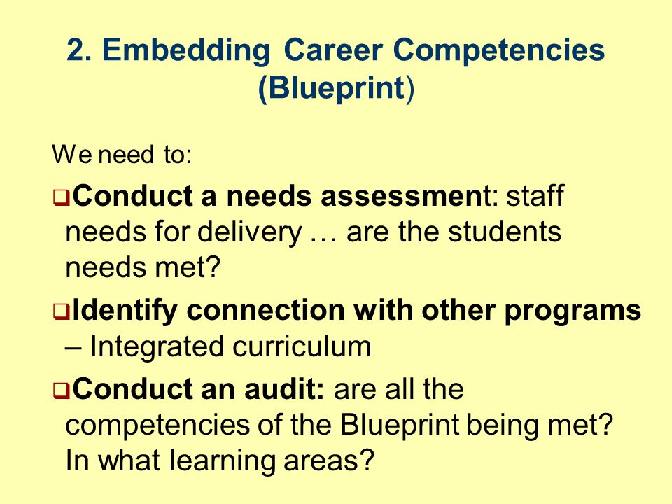 2. Embedding Career Competencies (Blueprint) We need to:  Conduct a needs assessment: staff needs for delivery … are the students needs met?  Identi