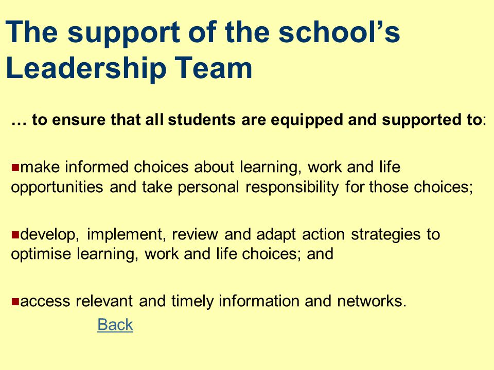 The support of the school's Leadership Team … to ensure that all students are equipped and supported to: make informed choices about learning, work and life opportunities and take personal responsibility for those choices; develop, implement, review and adapt action strategies to optimise learning, work and life choices; and access relevant and timely information and networks.