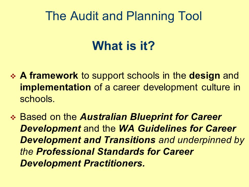 The Audit and Planning Tool What is it.