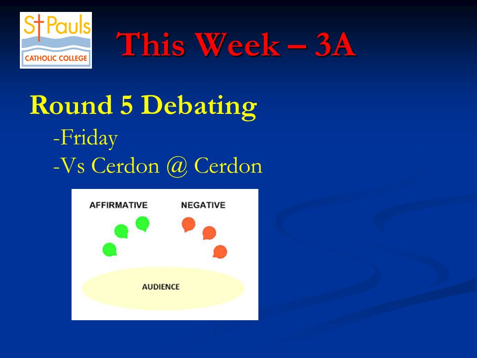 This Week – 3A This Week – 3A Round 5 Debating -Friday -Vs Cerdon @ Cerdon