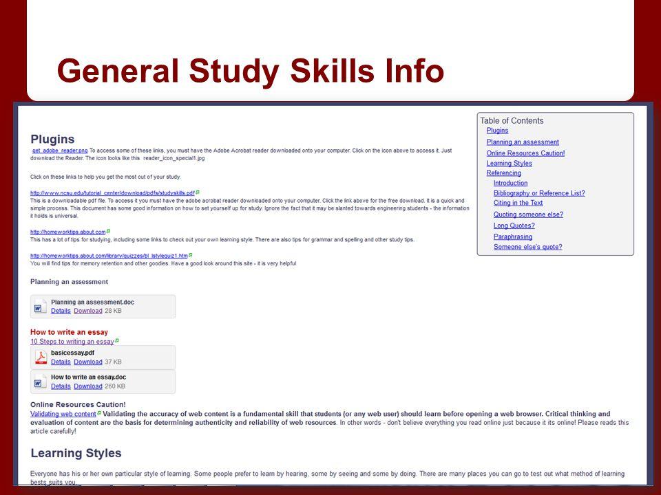 General Study Skills Info