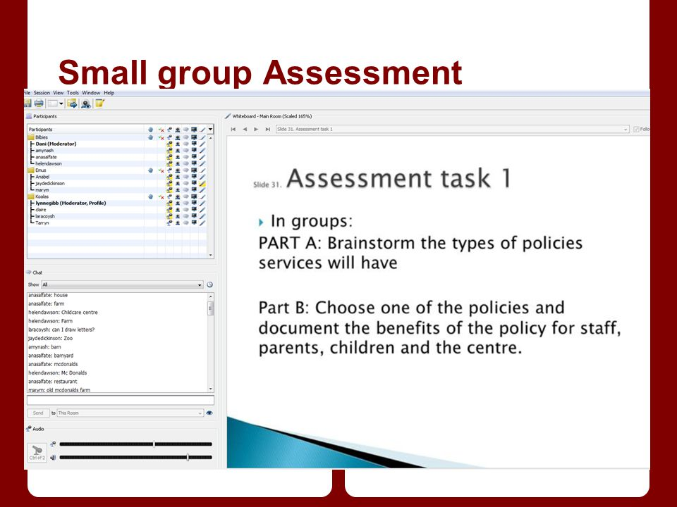 Small group Assessment