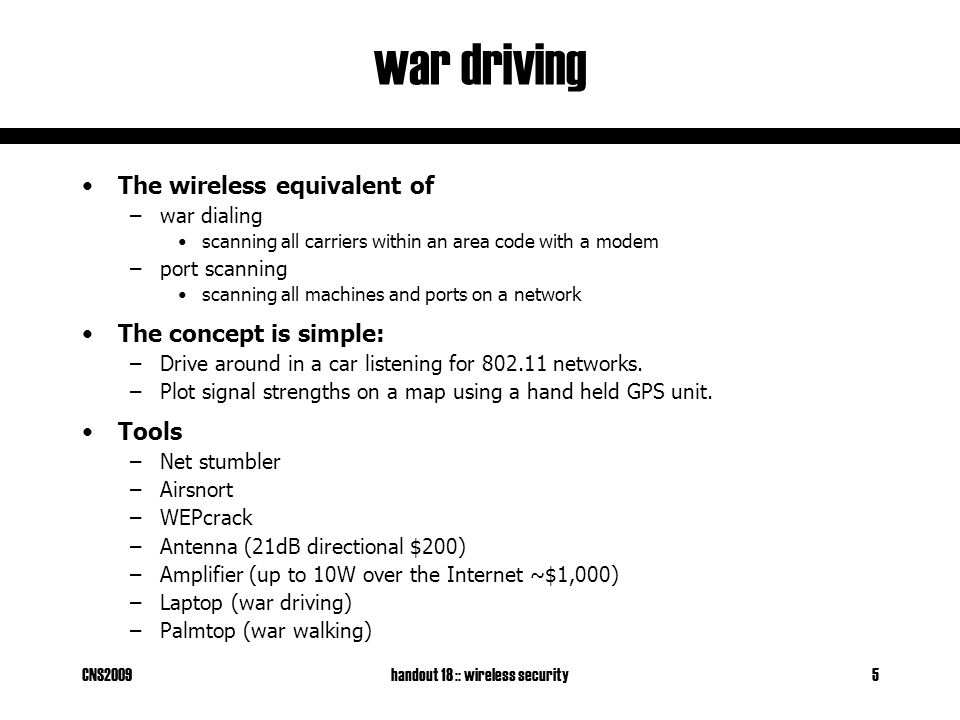 CNS2009handout 18 :: wireless security26 double encryption An attacker records a packet they wish to decrypt.