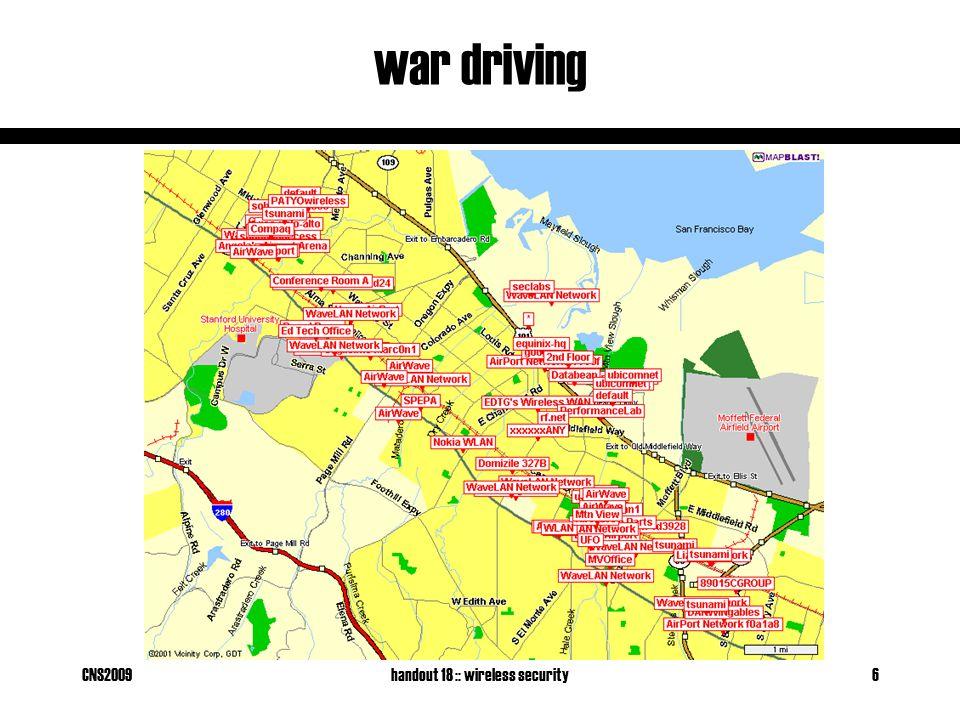 CNS2009handout 18 :: wireless security6 war driving