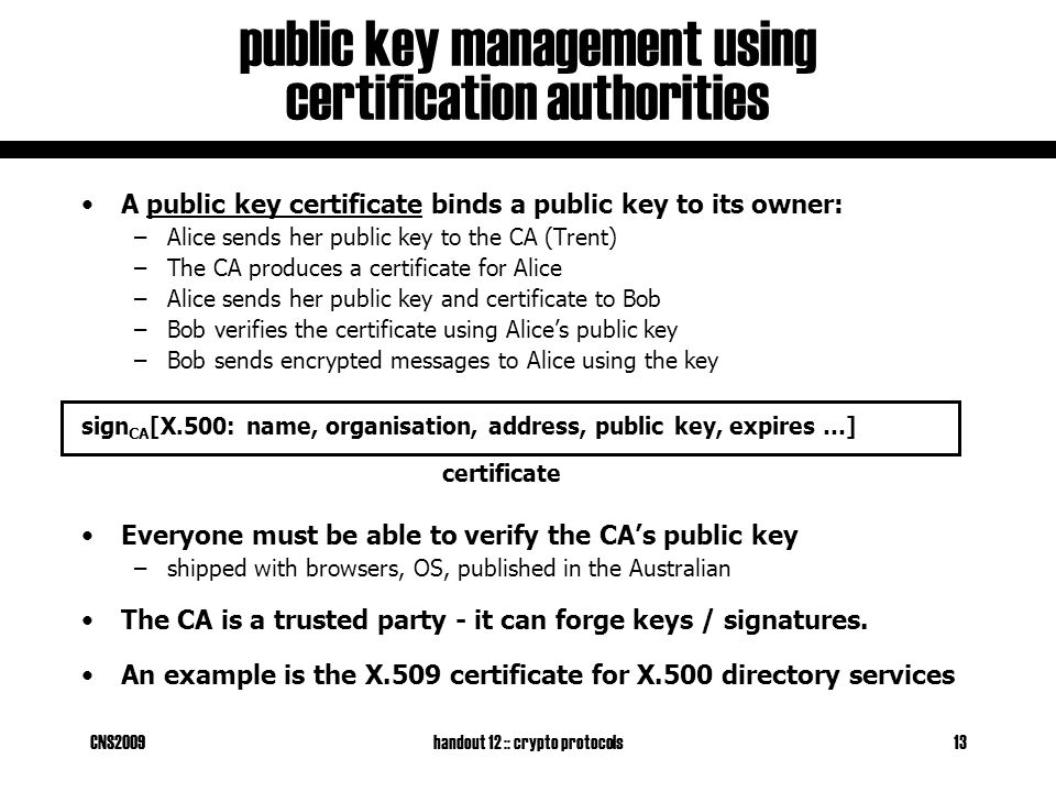 CNS2009handout 12 :: crypto protocols13 public key management using certification authorities A public key certificate binds a public key to its owner: –Alice sends her public key to the CA (Trent) –The CA produces a certificate for Alice –Alice sends her public key and certificate to Bob –Bob verifies the certificate using Alice's public key –Bob sends encrypted messages to Alice using the key sign CA [X.500: name, organisation, address, public key, expires …] Everyone must be able to verify the CA's public key –shipped with browsers, OS, published in the Australian The CA is a trusted party - it can forge keys / signatures.