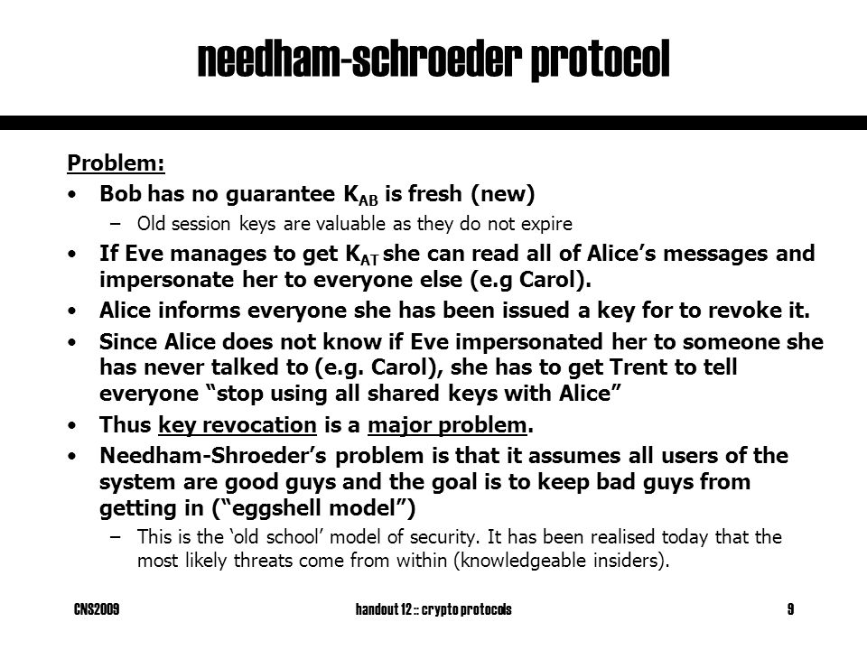 CNS2009handout 12 :: crypto protocols9 needham-schroeder protocol Problem: Bob has no guarantee K AB is fresh (new) –Old session keys are valuable as they do not expire If Eve manages to get K AT she can read all of Alice's messages and impersonate her to everyone else (e.g Carol).