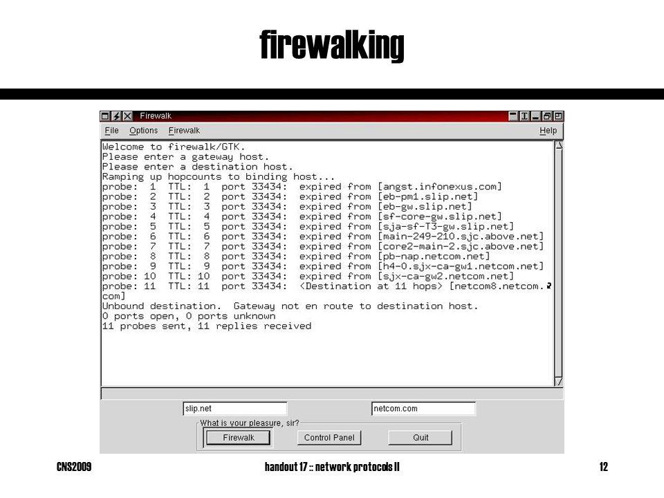 CNS2009handout 17 :: network protocols II12 firewalking