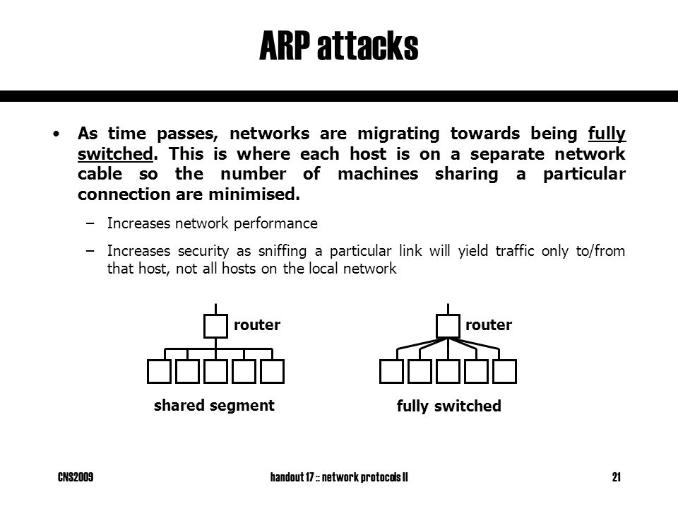 CNS2009handout 17 :: network protocols II21 ARP attacks As time passes, networks are migrating towards being fully switched.