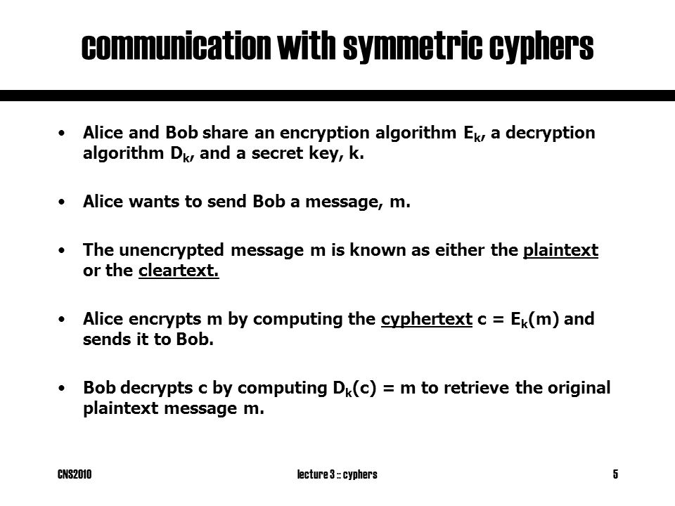 CNS2010lecture 3 :: cyphers5 communication with symmetric cyphers Alice and Bob share an encryption algorithm E k, a decryption algorithm D k, and a secret key, k.