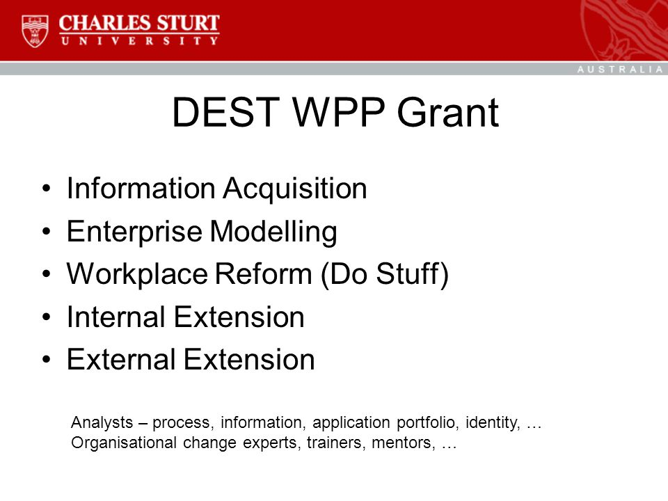 DEST WPP Grant Information Acquisition Enterprise Modelling Workplace Reform (Do Stuff) Internal Extension External Extension Analysts – process, information, application portfolio, identity, … Organisational change experts, trainers, mentors, …
