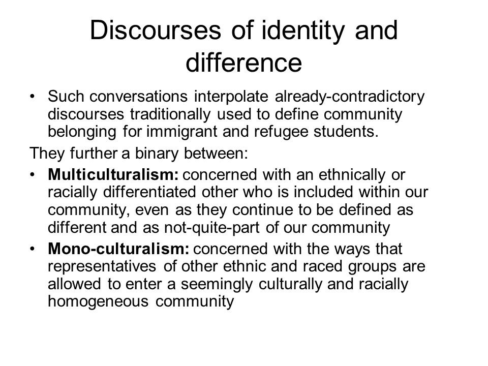 Discourses of identity and difference Such conversations interpolate already-contradictory discourses traditionally used to define community belonging for immigrant and refugee students.