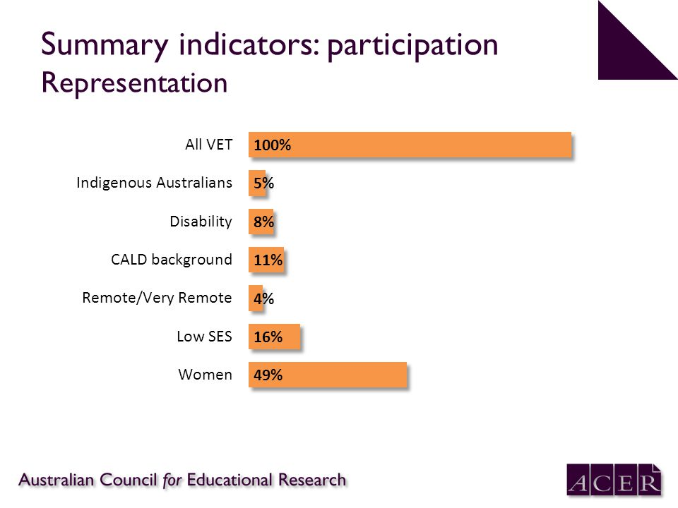 Summary indicators: participation Representation