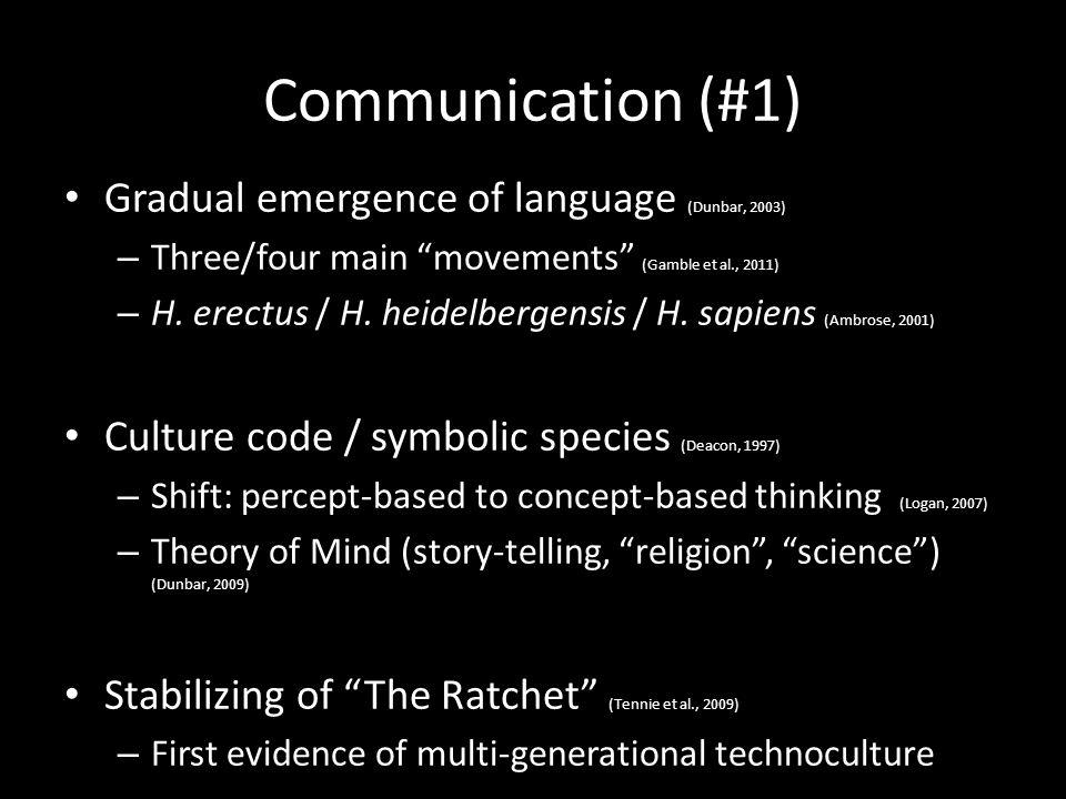 Communication (#1) Gradual emergence of language (Dunbar, 2003) – Three/four main movements (Gamble et al., 2011) – H.