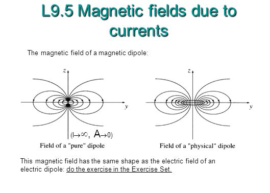 L9.5 Magnetic fields due to currents The magnetic field of a magnetic dipole: This magnetic field has the same shape as the electric field of an electric dipole: do the exercise in the Exercise Set.