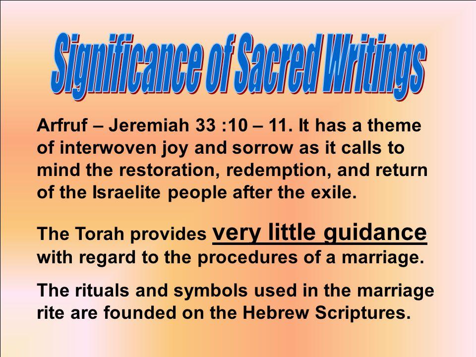 Arfruf – Jeremiah 33 :10 – 11.