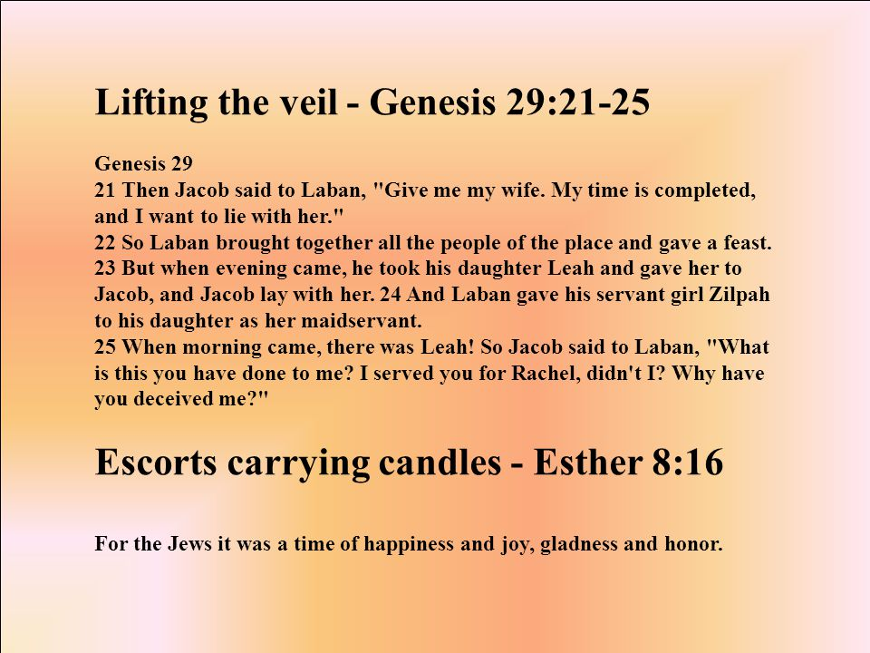 Lifting the veil - Genesis 29:21-25 Genesis 29 21 Then Jacob said to Laban, Give me my wife.