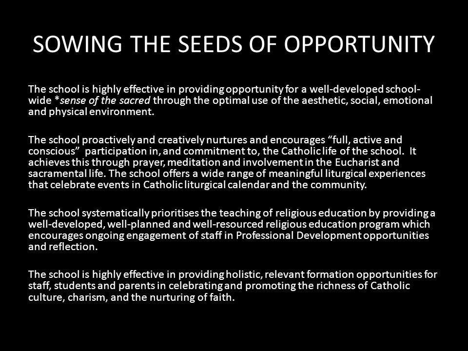GROWING IN THE EXPERIENCE OF THE EVERYDAY The school consistently works for justice in its commitment to the *Principles of Catholic Social Teaching, in discerning and developing policies, procedures and practices.