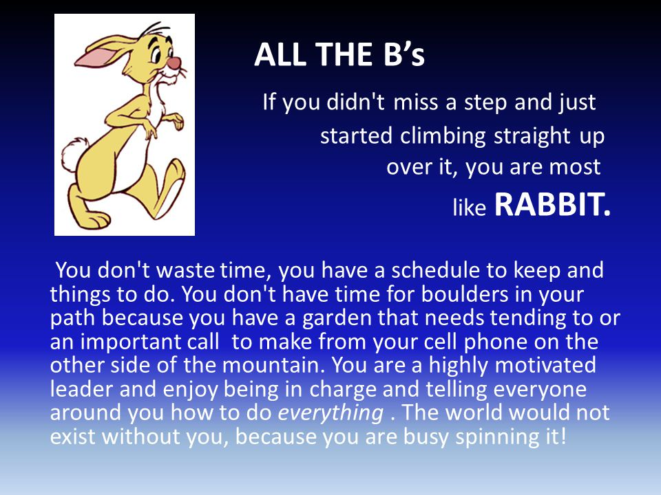 ALL THE B's If you didn't miss a step and just started climbing straight up over it, you are most like RABBIT. You don't waste time, you have a schedu