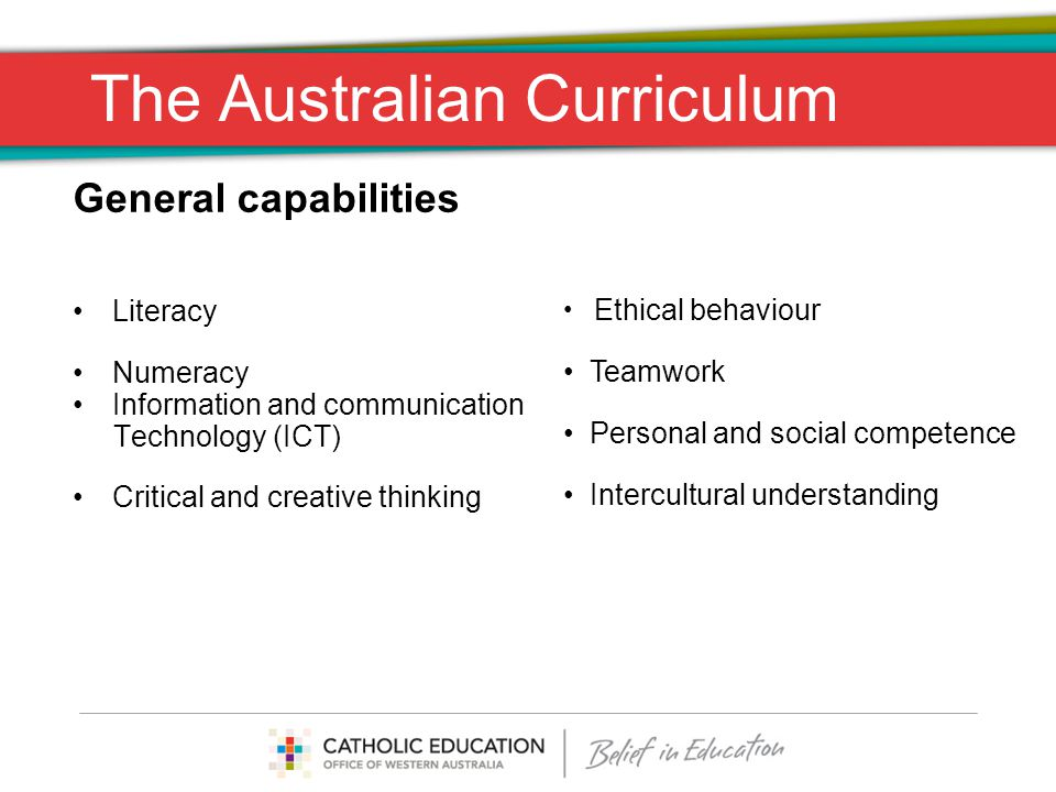 The Australian Curriculum General capabilities Actions being taken: 1.Identify where the capabilities fall naturally and most powerfully within the curriculum 2.Review how the capabilities could be combined eg.