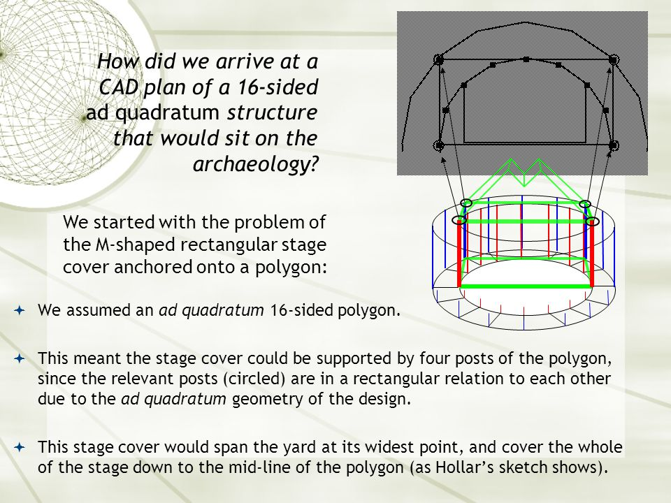  We assumed an ad quadratum 16-sided polygon.  This meant the stage cover could be supported by four posts of the polygon, since the relevant posts
