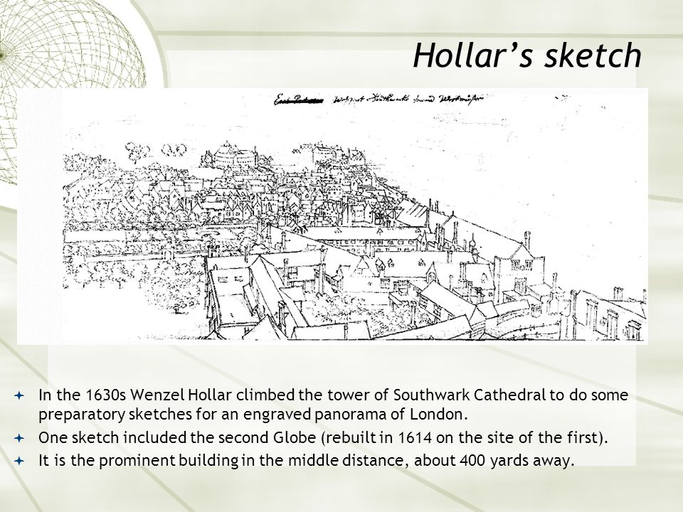 Hollar's sketch  In the 1630s Wenzel Hollar climbed the tower of Southwark Cathedral to do some preparatory sketches for an engraved panorama of Lond