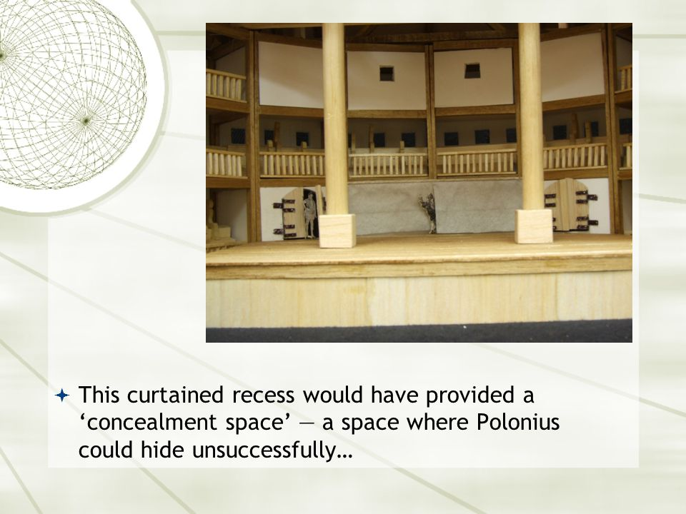  This curtained recess would have provided a 'concealment space' — a space where Polonius could hide unsuccessfully…