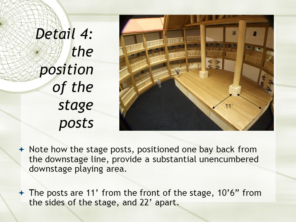  Note how the stage posts, positioned one bay back from the downstage line, provide a substantial unencumbered downstage playing area.  The posts ar