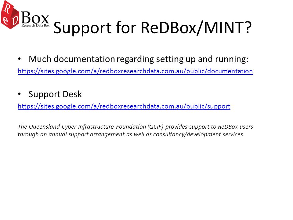 Support for ReDBox/MINT.