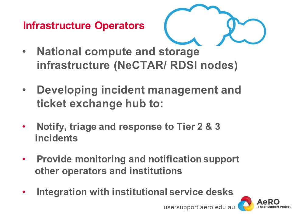Infrastructure Operators National compute and storage infrastructure (NeCTAR/ RDSI nodes) Developing incident management and ticket exchange hub to: Notify, triage and response to Tier 2 & 3 incidents Provide monitoring and notification support other operators and institutions Integration with institutional service desks usersupport.aero.edu.au