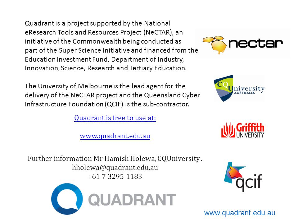 Quadrant is free to use at:   Further information Mr Hamish Holewa, CQUniversity.