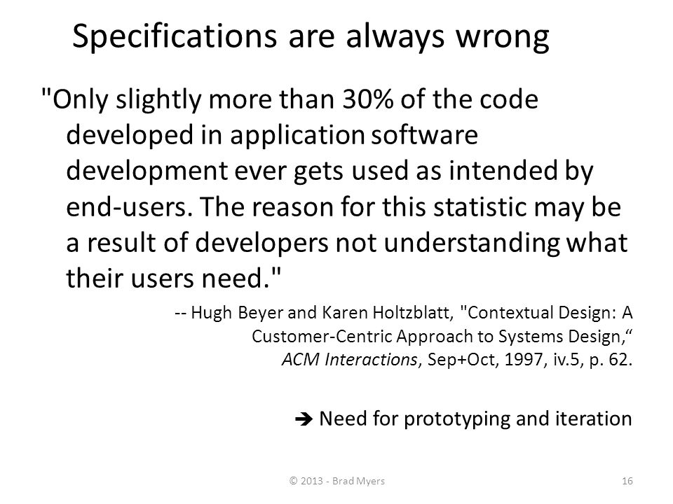 16 Specifications are always wrong