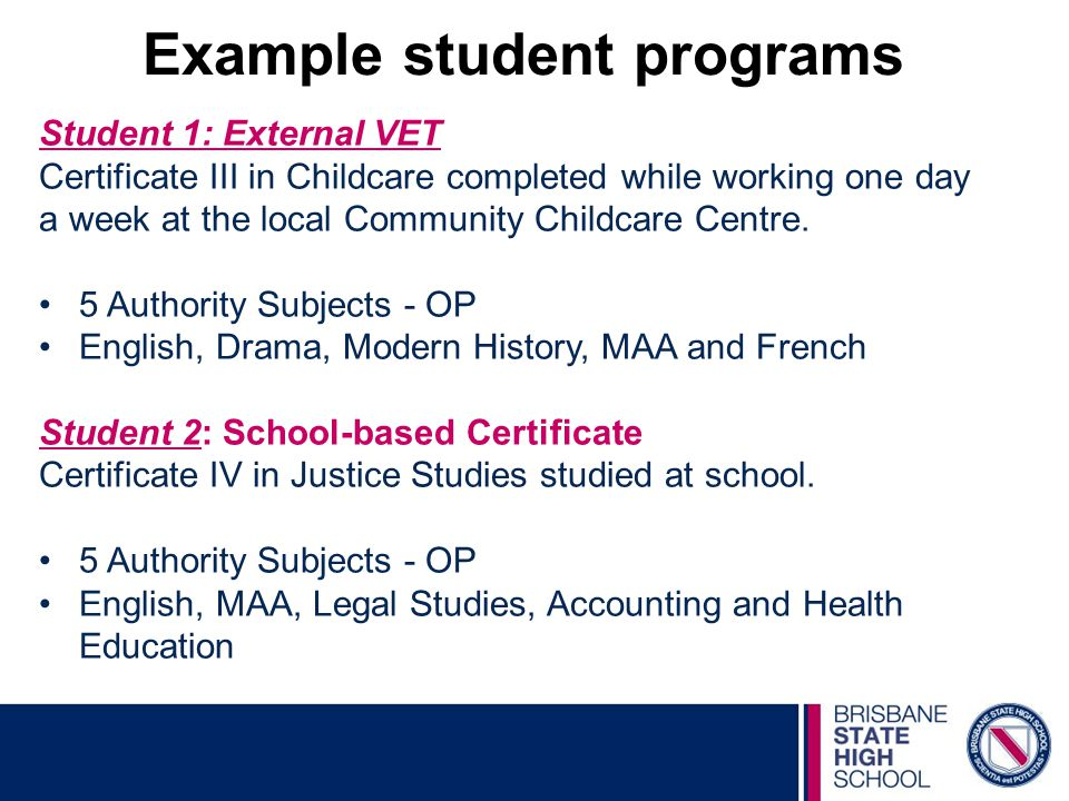 Student 1: External VET Certificate III in Childcare completed while working one day a week at the local Community Childcare Centre.