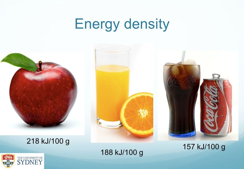 Energy density 188 kJ/100 g 218 kJ/100 g 157 kJ/100 g