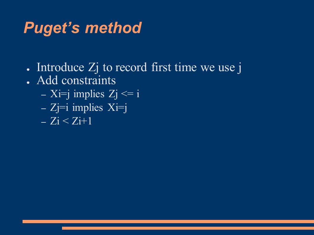 Puget's method ● Introduce Zj to record first time we use j ● Add constraints – Xi=j implies Zj <= i – Zj=i implies Xi=j – Zi < Zi+1