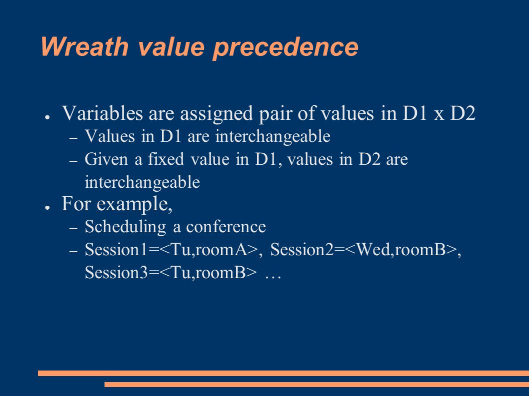Wreath value precedence ● Variables are assigned pair of values in D1 x D2 – Values in D1 are interchangeable – Given a fixed value in D1, values in D2 are interchangeable ● For example, – Scheduling a conference – Session1=, Session2=, Session3= …