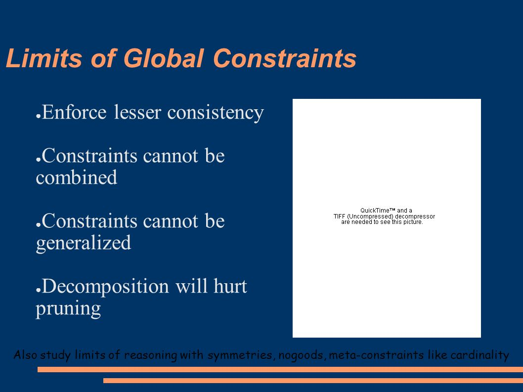 Limits of Global Constraints Also study limits of reasoning with symmetries, nogoods, meta-constraints like cardinality ● Enforce lesser consistency ● Constraints cannot be combined ● Constraints cannot be generalized ● Decomposition will hurt pruning