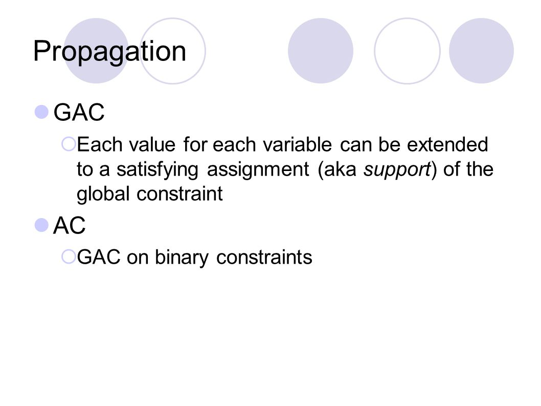 Propagation GAC  Each value for each variable can be extended to a satisfying assignment (aka support) of the global constraint AC  GAC on binary co