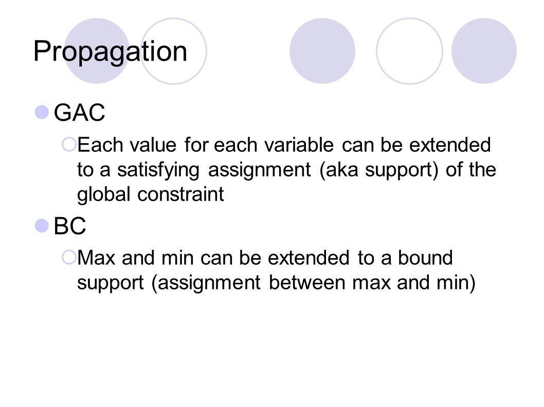 Propagation GAC  Each value for each variable can be extended to a satisfying assignment (aka support) of the global constraint BC  Max and min can