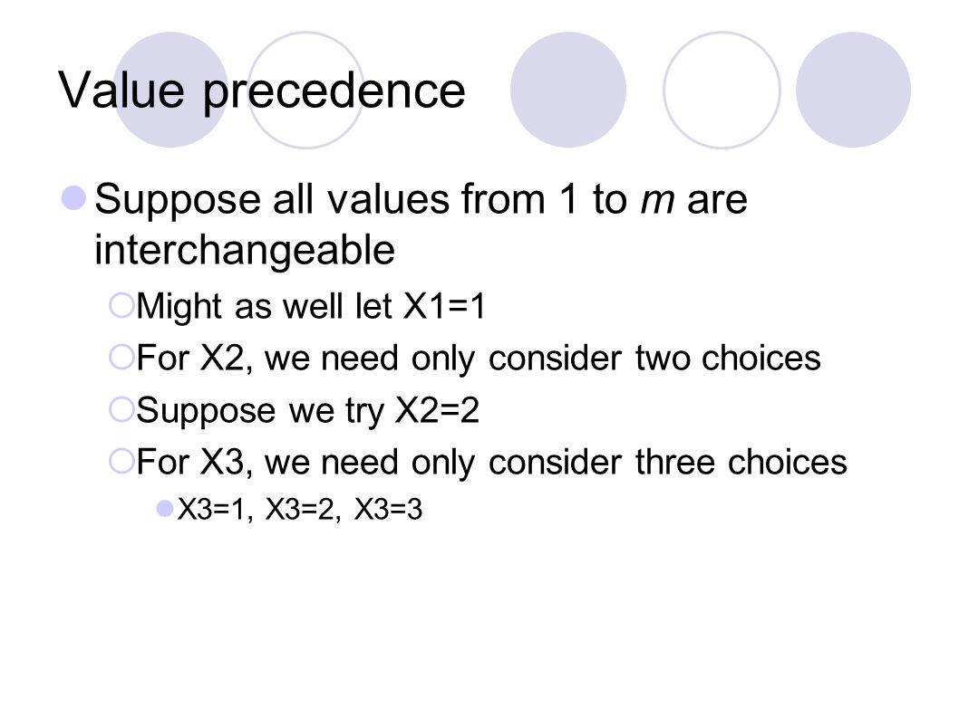 Value precedence Suppose all values from 1 to m are interchangeable  Might as well let X1=1  For X2, we need only consider two choices  Suppose we